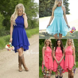 Short Chiffon County Bridesmaid Dresses Halter Ruffles Beach Wedding Guest Dress knee Length Royal Blue Party Prom Gown CPS575