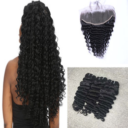 Brazilian Hair Bundles Unprocessed Human Hair Weave 4pcs With 13*4 Lace Frontal Closure Brazilian Deep Wave Full Head Hair Extensions