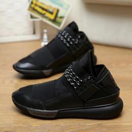 Caoutchouc respirante en Ligne-2016 Nouveau Hommes Femmes Chaussures Casual Patchwork Lace-Up Chaussures Respirant Chaussures En Cuir Chaussures Y3 Noir Chaussures De Guerrier