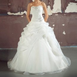 Wholesale Lovely Beading Ball Gown Wedding Dresses Organza Cheap Wedding Gown Amanda Novias Sweetheart Ruffles Off The Shoulder Vestidos
