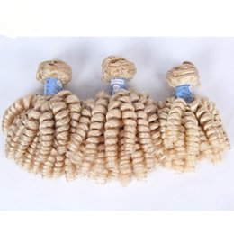 Cheap Brazilian Aunty Funmi Blonde Human Hair 3Pcs Lot 9A Virgin Brazilian #613 Platinum Blonde Funmi Hair Weave Bundles Romance Curls