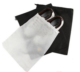 Wholesale Promotion Non woven Shoe Drawstring Travel Storage Shoe Dust proof Tote Dust Bag Case Black White Pouch Tote Bag Dust proof Shoe free fedex