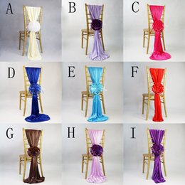 Wholesale 20 Jacquard Chair Covers For Wedding Ceremony Ribbon Chair Sashes Party Banquet Decoration Satin Sash Wedding Supplies