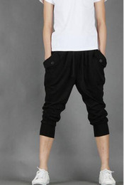 Wholesale- New Mens Harem Capri Casual Sport Athletic Baggy Gym Jogger Joggin Skinny Male Shorts Cotton Polyester Blends Short Pants