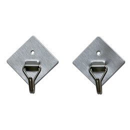 2pcs lot Brand Viscose And Nail Adsorption Clothes Towel Robe Hook For Home Room Bathroom Silver Square Shape Stainless Steel Hooks