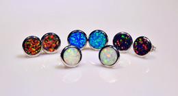 Wholesale & Retail Fashion Jewelry Fine Blue White Orange Brown Fire Opal Stone Silver Plated Earrings EAT002