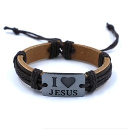 Wholesale Retro Christian leather bracelets I LOVE JESUS Engraved Alloy Woven charm Bracelet for men women Fashion jewelry