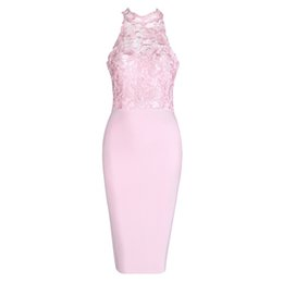 2016 new beige black pink version High Neck Sleeveless Lace Sexy beautiful Bodycon Evening party sundress women