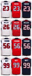 Wholesale NIK Elite Football Stitched Texans Lamar Miller JJ Watt Foster Cushing White Blue Red Jerseys Mix Order