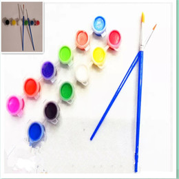 Wholesale 12 Colors Acrylic Painting Pigment One Brush Pens One Sprintliner DIY for Mask Painting Easter Eggs