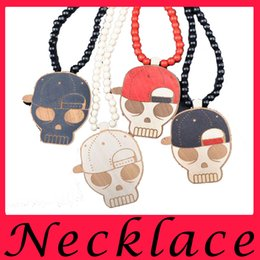 Wholesale The woman chain hip hop wooden bead necklace pendant skull baseball cap Goodwood Necklace necklace of fashion jewelry sales