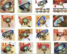 Wholesale Popular Mixed Style Vine Weave Wrap Around Charm Bead Leather Bracelet Leaf Butterfly Horse Eiffel Tower Heart Wings owl Quartz Watch