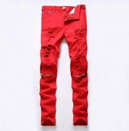 new Red Ripped biker jeans famous brand designer plus size men pants Colorful skinny joggers jeans for men pantalones vaqueros hombre