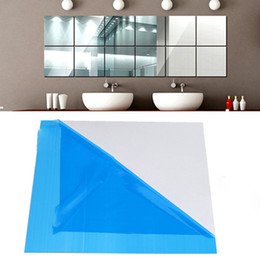Wholesale High Quality set Square Mirror Tile Wall Stickers D Decal Mosaic Home Room Decoration DIY For Living Room Porch freeshipping HY1173