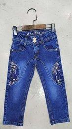 Wholesale Fashion children s jeans female trousers Slim purple lace cloth inserted in the waist zipper waist stretch denim pants feet