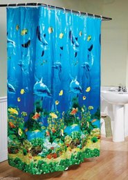 Wholesale 180X180cm Popular Blue Ocean World Bathroom products Shower Curtain Sea Dolphin Waterproof Polyester Hooks Quality Curtain Printing Screen