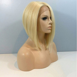 Wholesale Popular Short Bob Wigs Brazilian Hair Full Lace Human Wigs With Middle Part Blonde Wigs For Yang Lady