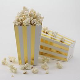 Wholesale 360pcs packs birthday party paper Popcorn Boxes gold Chevron Dot Striped gift box candy box popcorn boxe bag party favor