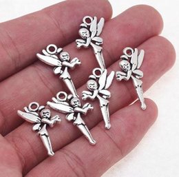 200Pcs Tibetan Silver Fairy Angel Charms Pendant For Jewelry Making 25x14mm
