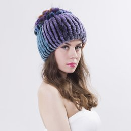 Women Rex Rabbit Fur Hat Real Fur Winter Hats Beanies Cap Hand Sewing Skullies Strips multicolor Elastic Lady Headwear