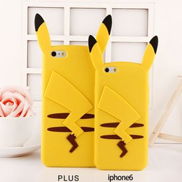 """Cute 3D Cartoon Animal Pokemons Pikachu Silicone Case Capa for iPhone 6 4.7"""" 6 Plus 5s 5 4s 4"""
