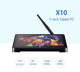 Puces de tablette double cœur à vendre-Haute qualité X10 Mini PC TV BOX Intel Z3736F Quad Core 2 Go / 32 Go Dual OS Windows 10 Android 4.4 7 pouces écran tactile Tablet PC