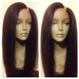 Wholesale Black Women U Part Wigs Unprocessed Silky Straight U Part Human Hair Wigs Left Opening Brazilian Upart Wig For Sale