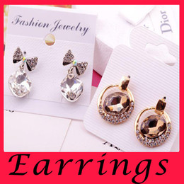Wholesale 2016 Trendy Elegant Sale Sterling Silver Earrings Ear Nail Wedding Stud Earring Crystal Head Jewelry Present for Girls Lady candy color