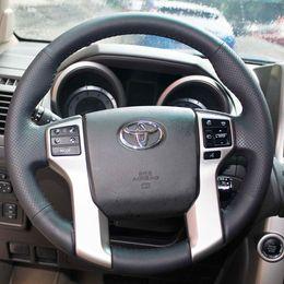Case for Toyota Prado 2010 Land cruiser Steering wheel cover Genuine leather DIY Hand-stitch Car styling Interior decoration