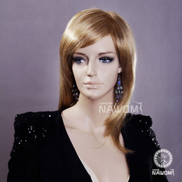 A3372 100% Kanekalon Gold Color Women Medium Length Straight Wigs Average Size Female Synthetic Hair Wig New Arrival