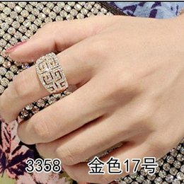 1pc Korean Fashion Crystal Joint Silver Gold Finger Rings Full Diamond Vintage Rings All-Purpose Style Women Girls Lady Jewelry BG36986