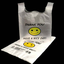 Wholesale Portable Smiling Facae Supermarket Yellow Lovely Vest Plastic Carrier Shopping Hand Bag Packaging Bags