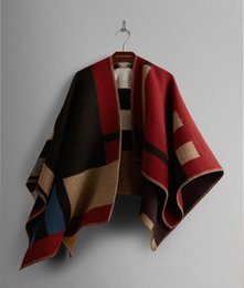 Wholesale Europe and American style Women Poncho thicken Cashmere Wool Scarf Monogramed Poncho OP Cape Plaid Winter Check Blanket Poncho A0072
