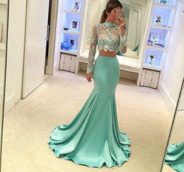 Two Pieces Dresses Evening Wear High Neck Sheer Neck Sexy Long Sleeves Prom Dress Sweep Train Zipper Back Sheath Homecoming Dress