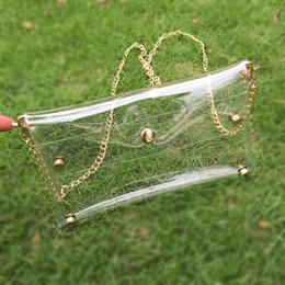 Wholesale Blanks Transparent Clear PVC Shoulder Bag Sheer Glassy Clear Envelope Clutch Game Day Clutch Gift for Sports Show DOM106395