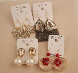 Wholesale Dazzling fashion ear pins ear studs mixed rhinestone earrings party earrings affordable gifts for her