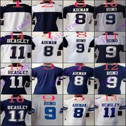 Wholesale Women NIK Game Football Stitched Cowboys Aikman Romo Cole Beasley Blue White Blue Jerseys Mix Order