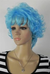 free shipping***Hot fashion cartoon party short curly hair wave blue hair wigs