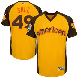 Wholesale Mens Chicago White Sox Chris Sale Majestic Yellow Baseball All Star Game Cool Base Batting Practice Player Jersey