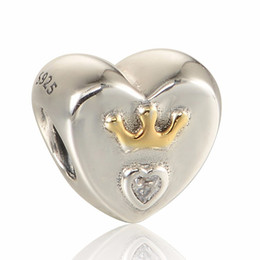 Majestic Heart 14K Gold Crown with Clear CZ 100% 925 Sterling Silver Bead Fit Pandora Fashion Jewelry DIY Charm Brand