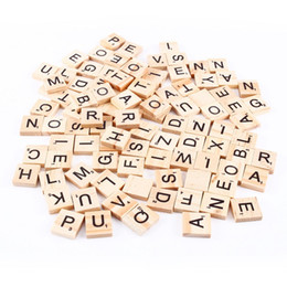 100pcs set Wooden Alphabet Scrabble Tiles Black Letters & Numbers For Crafts Wood