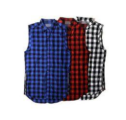 Blue White Red Scottish Plaid Sleeveless Men Casual shirts   Summer Fashion Lengthen Gold Zipper Arc Hem Men Flannel Shirts S-XXL