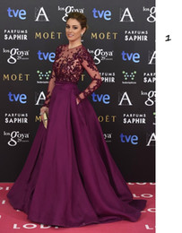 Wholesale Zuhair Murad Purple Illusion Long Sleeve Evening Dresses Sheer Neck Appliqued Beading Satin with Pockets Prom Gowns Celebrity Dresses