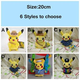 Wholesale 6 Designs cm Poke Pikachu en peluche jouets pour les enfants Striped Cartoon Sailor Pikachu Plush Doll Peluches CCA4929