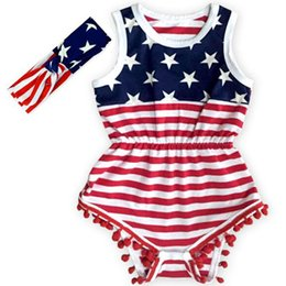 New Baby Clothing American Girl Bodysuit PomBaby Romper 4th of July Baby Outfit Newborn Baby Clothes