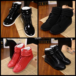 Wholesale 2016 Mens Brand Designer Maison Martin Margiela Shoes High Top Patent Genuine Leather Casual Flat Margiela Sneakers Red Black