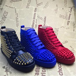 New 2016 Men and Women Causal Sports Shoes Black Suede Leather with Spikes loubi High Top Sneakers Men Flat Street Lace up Dress Shoes
