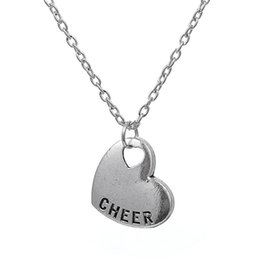 Antique Silver Cheer Heart Engraved Pendant Necklace for Girls