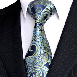 E7 Mens Necktie Floral Navy Blue Azure Yellow Ties 100% Silk Jacquard Woven Exquisite Brand New Free Shipping