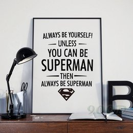 Wholesale ACE ART Superman Quote Canvas Art Print Poster Wall Pictures for Home Decoration Frame not include